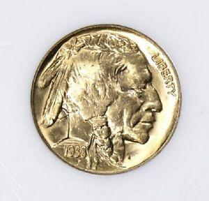 1938-D NGC MS66 Gold Toned Buffalo Nickel Nice Eye Appeal GEM BU Old Fat Holder