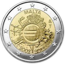 Malta  2012  2 euro commemo   10 jaar Euro    UNC uit de rol !!!