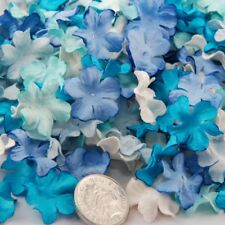 Shades Of Blue And White Mini Mulberry Paper Blooms Flowers Pbc161