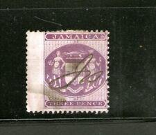 JAMAICA POSTAL FISCAL(1855-1874) 3 PENCE PURPLE/WHITE (HINGED)CV $115++