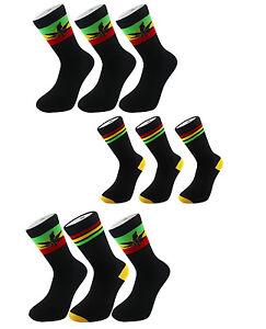 X3 Rasta Rastafarian-Stripe Lion Of Judah Leaf Black Crew Socks One Size UK 6-11