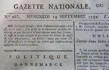 Journal révolutionnaire Gazette Nationale Moniteur Universel aout décembre 1792