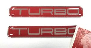 2 x TURBO Stickers Super Shiny Domed Finish - Chrome Text on Red