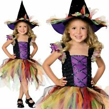 Kids Girls Glitter Witch Fancy Dress Halloween Costume Outfit Cute Magic Pretty