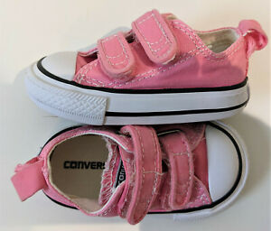 Converse Chuck Taylor All Star infant Shoes Pink 2 strap Low Shoe 709447F size 3
