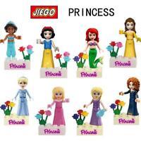 8pcs Disney Princess Minifigures Toy Building Blocks Snow White Belle Girls