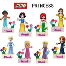 8pcs Disney Princess Minifigures Toy Building Blocks Snow White Belle Girls Gift