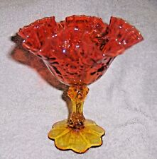 Fenton Amberina Compote Crimped Ruffled Edge Rose Pattern Pedestal Bottom Candy