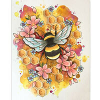 """Full Round Drill 5D Diy Diamond Painting """"Flower Bee"""" Embroidery Cross Stit R5Y7"""