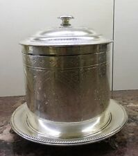Vintage Antique Biscuit Box Silver Plated Hinged Lid