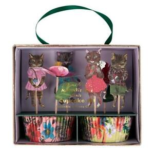 Nathalie Lete Floral Cat Birthday Party Cupcake Kit, Cake Cases & Toppers