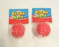 2 NEW RED FOAM CLOWN NOSES CIRCUS CLOWN COSTUME ACCESSORY CARNIVAL PARTY FAVORS