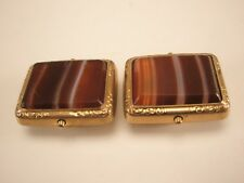 -Banded Scottish Agate Vintage Victorian Cuff Links