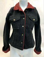 Womens Tasha Polizzi Red Gray Acrylic Stitched Button Down Jacket Sweater Size M