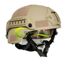 MICH 2000 Airsoft Tactical Hunting Combat Helmet w/ Side Rail Mount Army Sand