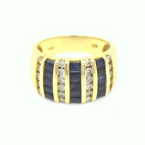 VINTAGE EFFY DIAMOND SAPPHIRE MULTI ROW RING 14K GOLD DESIGNER SIGNED SIZE 7.25