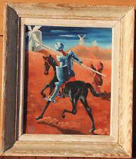 André SERGE Peinture huile sur carton oil painting Don Quichotte Quijote 1943 *