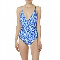 Juniors Bongo Reversible One Piece Swimsuit Blue / White Size S
