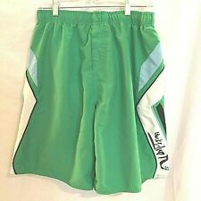 Quiksilver Mens Swim Trunks Size Medium Board Shorts Green and White