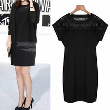 Round Neck Patternless Lace Mini Dresses for Women