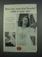1962 Mum Deodorant Ad - Let Your Skin Breathe