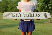 Vintage Burgess Batteries Double Sided Wood Sign Not Porcelain Gas Oil NICE!