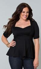 Kiyonna Women's Top 2X Black Peplum Style  Made In USA Sweetheart Neckline