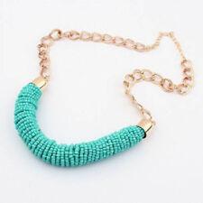 1pc Fashion Vintage Handmade DIY Beaded Chunky Chain Bib Collar Women Necklace Green