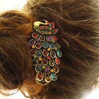 Women Vintage Peacock Rhinestone Hairpin Hair Clip Pin Barrette Head Accessories