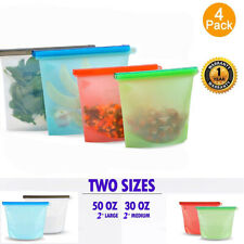 Reusable Silicone Food Storage Bags, Leak Proof Airtight Food Preservation Bag