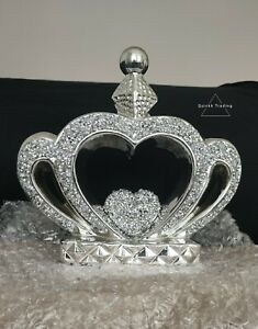 CRUSHED DIAMOND SILVER CRYSTAL STUNNING CROWN ORNAMENT, SPARKLY BLING ✨