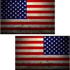 "2 - 4"" American Grunge Flag Decal Set Usa Old Glory Vinyl Car Sticker Lh Rh"