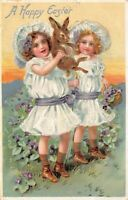 Easter Postcard Two Girls Holding Up A Bunny Rabbit~127005