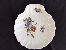 "LIMOGE FRANCE  10"" CLAM SCALLOP SHAPE PORCELAIN BOWL PANSY PANSIES"