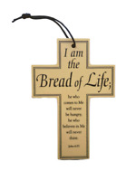"Wood First Communion Prayer Cross I Am The Bread Of Life Hanging 3 1/4"" x 4 3/4"""