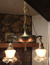 Antique REWIRED Victorian Pan Light Hanging Lamp Fixture Chandelier Brass