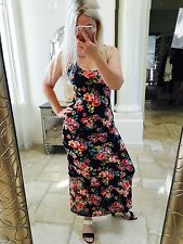 Ambiance S 4 6 maxi dress floral long tank sleeveless summer black pink Roses