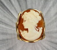 VINTAGE ANTIQUE SHELL CAMEO RING ___ 14KT ROLLED GOLD  SIZE 5 TO 13 WIRE WRAPPED
