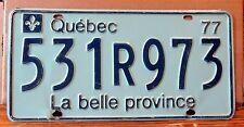 Canada 1977 Quebec La belle province License Plate Tag 531R973