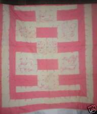 Antique pink & beige cotton baby quilt w embroidered animals VGC
