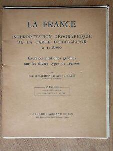France interprétation carte d'état major Martonne 1934
