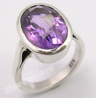 925 Pure Silver CUT PURPLE AMETHYST LOVELY Ring Any Size SEMI PRECIOUS GEMSTONE
