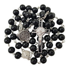 8mm Black Glass Beads CATHOLIC ROSARY NECKLACE Saint Benedict Medal Crucifix Box