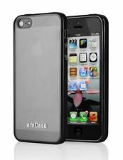Apple iPhone 5S/5C/5 amCase Hybrid Matte Bumper Phone Case/Cover (Black)