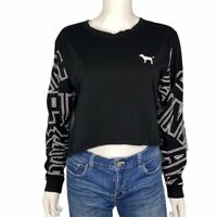 Pink by Victoria's Secret Cropped Black Long Sleeve Tee Size L