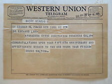 Bruno Walter Conductor Western Union Note To Dr. Richard Lert 1960