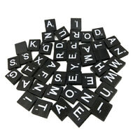 100 Pcs/Pack Game Replacement Crafts Bulk Black 26 Alphabet Wooden Tiles