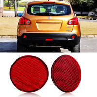 2Pcs Left & Right Rear Bumper Round Reflectors For Nissan QASHQAI 2007-2015 Red