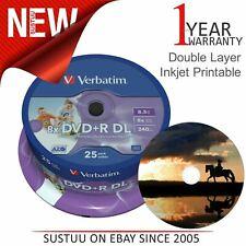 Verbatim 43667 DVD+R 8.5GB 8x DL 240min Printable Dual Layer│25 Pack│Matt Silver