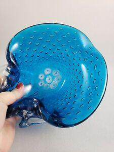 Vintage Murano Art Glass Blue Bullicante Millefiori Bowl Ashtray